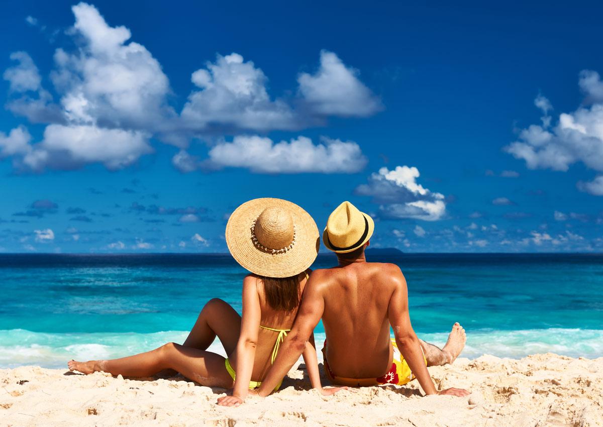 Sunbath in the beach